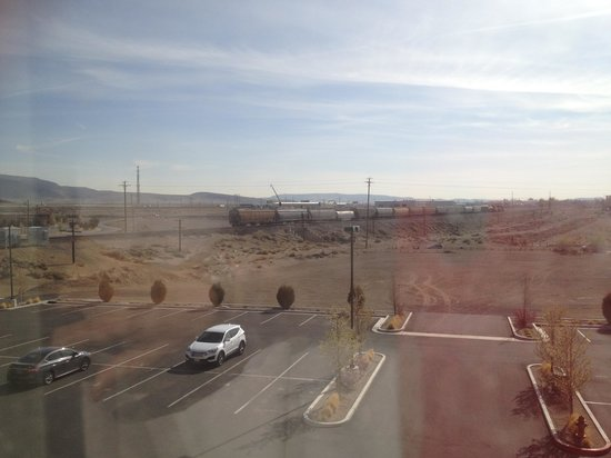 Comfort Suites: View of approaching train. (Sorry for the poor picture quality - lots of morning sun glare on th