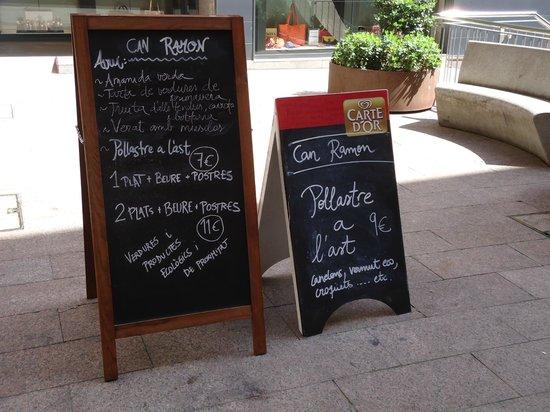 Can Ramon : Carteles de sus menus diarios