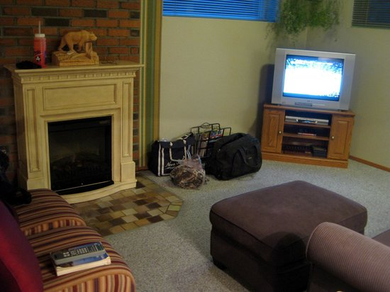 Grizzly's Den Bed and Breakfast: fireplace/sitting area