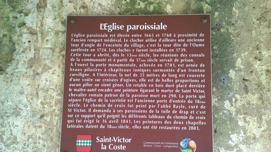 Panneau décrivant l'histoire de l'église de Saint-Victor-La-Coste, 16 siècle