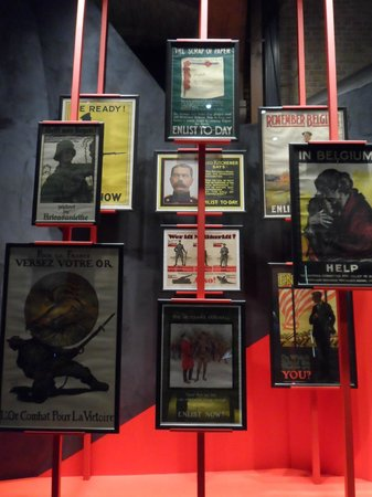 In Flanders Fields Museum: exhibit of WW1 recruitment posters