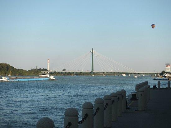 Hilton Vienna Danube Waterfront: the scene from the hotel  (Danube)
