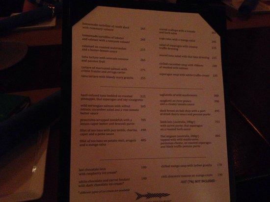 Barracuda Restaurant: Hier noch die Speisekarte :)