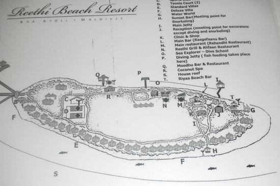 Reethi Beach Resort: Plan de l'île