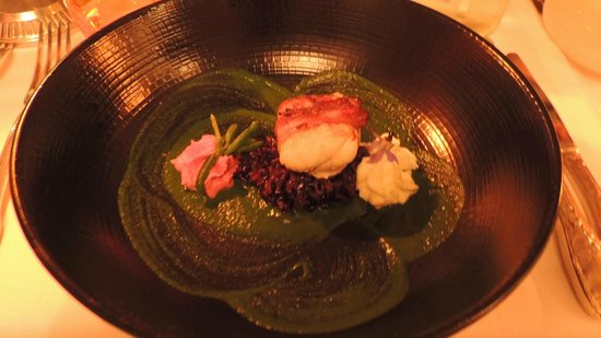 Auberge Nicolas Flamel : Monkfish in pancetta with black risotto, beetroot mousse, yuzu mousse and spinach puree