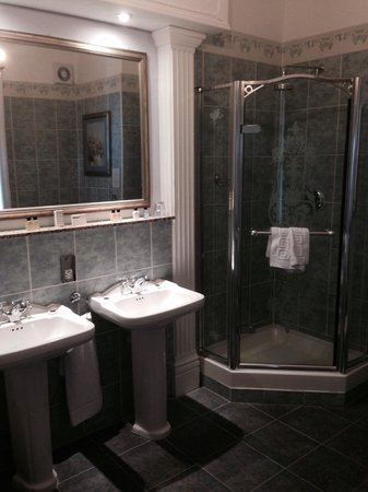 Rye Lodge Hotel: Double sink and shower in the champagne deluxe room