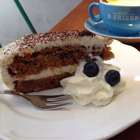 D•Origen Coffee Roasters: Homemade carrot cake.