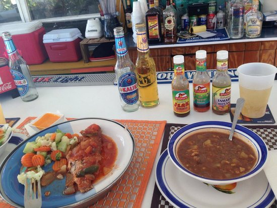 Junkanoo Beach Resort : Breakfast at Fish Fry. Conch soup and stew fish