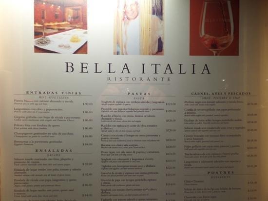 Bella Italia Ristorante: the menu..top half