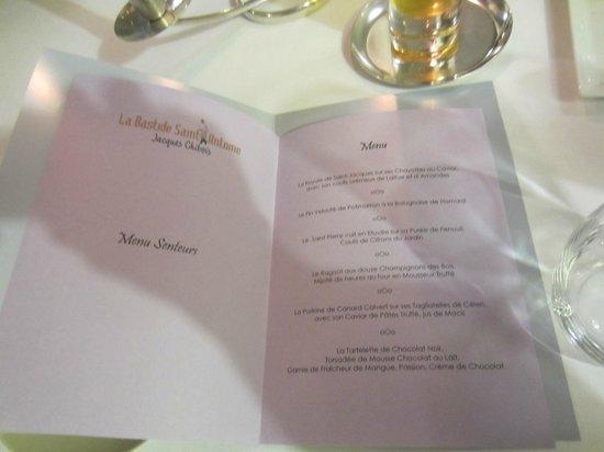 La Bastide Saint Antoine - Jacques Chibois: menu