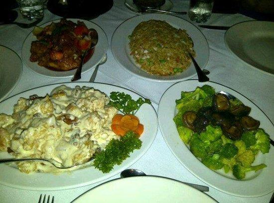 Tiki Village: Tiki fried rice, Broccoli and mushrooms, Hawaiian chicken, and Walnut shrimp