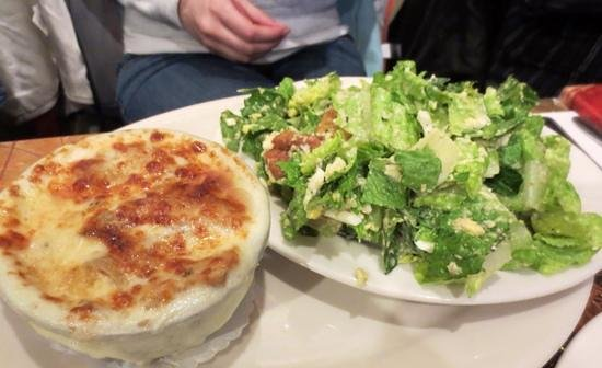Judie's: Bubbly onion soup and ceasar salad