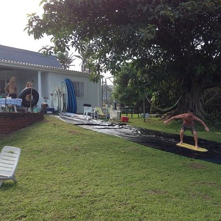 Umzumbe Surf House & Surf Camp: surf slip n slide!!! a special bday celebration, but i'm sure they'd be up for it anytime
