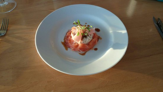 Beach House B&B: Oak smoked salmon, crab meat and ponzu reduction.