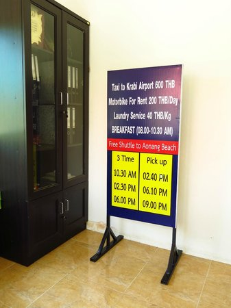 Supsangdao Resort : Shuttle service timing from hotel to Ao Nang