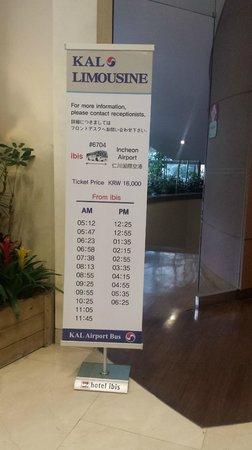 ibis styles Ambassador Seoul Gangnam : KAL Bus schedule in Lobby
