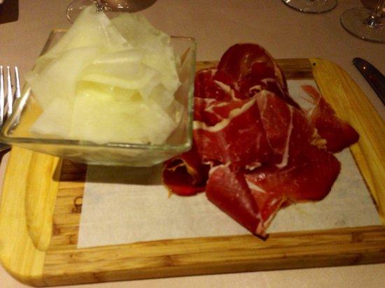 Restaurant Villa Duflot : Entrée : carpaccio de melon et jambon serrano