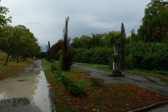 Olesko Castle : View of part of the gardens when driving out.
