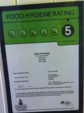 Cafe Aromas: Top marks in our food hygiene inspection!!