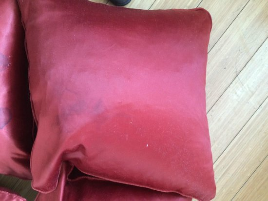 The Bermondsey Square Hotel: Stained pillows in 'Ruby' suite
