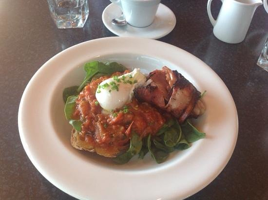Bunkers Beach House: my to die for breakfast of slow braised tomatoes with basil.