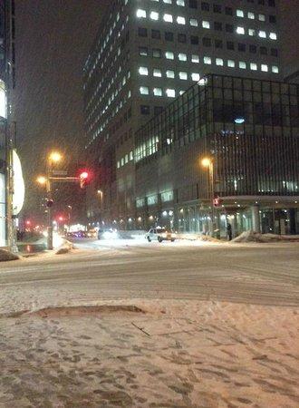 HOTEL MYSTAYS Sapporo Aspen: hotel corner by night