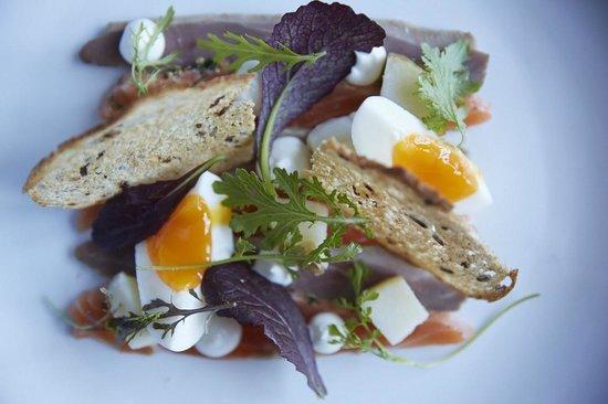 The Felin Fach Griffin Restaurant: Cured Duck, Salmon & Egg