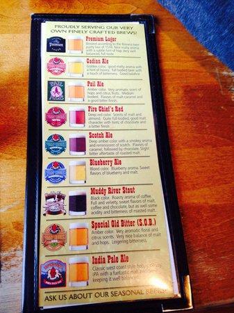 Pump House: The beer menu!