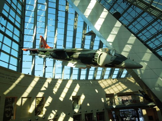 National Museum of the Marine Corps: Airplane hanging in main gallery