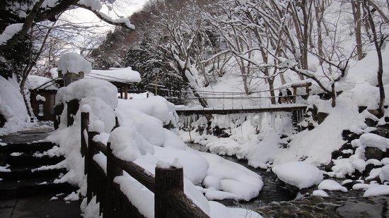 Minakami Onsen : 想去子寶最大的混浴就要經過這條橋 酷冬過這條橋要小心滑倒