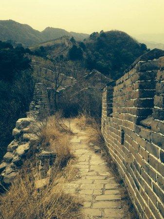 Gran Muralla China en Mutianyu: The original part if the wall .