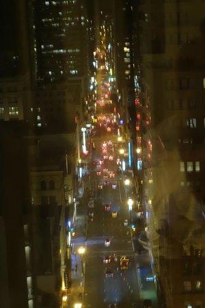 The Park Central San Francisco: Looking up Kearny St, at night