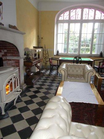 Chateau La Prade: sitting area with log burning fire