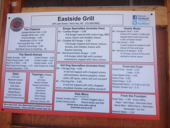 Eastside Grill: Choose from the delicious menu!