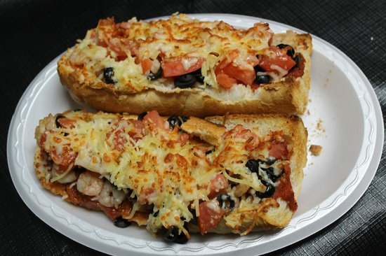 Apalach Eatery : Apalach Classic French Bread Pizza  marinara, shrimp, tomatoes, black olives, Parmesan, olive oi