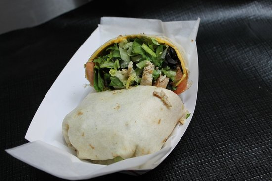 Apalach Eatery : Fresh Veggie Wrap...It's the garlic and spinach pesta, not pesto, that makes it great
