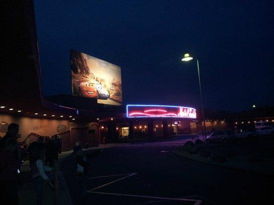 Disney's Hotel Santa Fe: the hotel at night looked stunning.