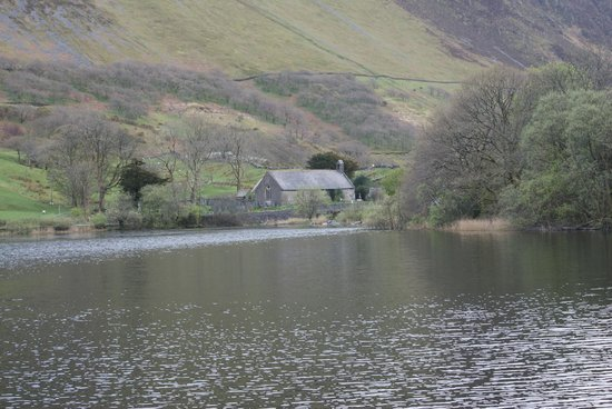 The Old Rectory on the Lake : St Mary's Church across Tal-y-llyn lake. View from the dining room.