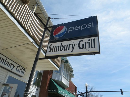 Sunbury Grill: Sign on Street