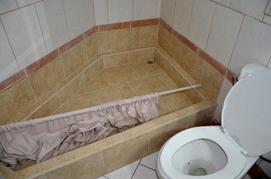 Alajuela Backpackers Boutique Hostel : bagno non pulito con tendina doccia in terra