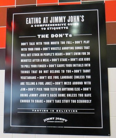 Jimmy John's: Don'ts