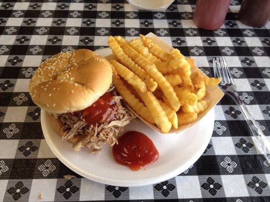 Tip-Top Barbeque: My pork sandwich, yummy.