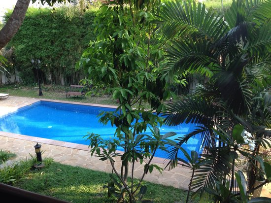 La Palmeraie d'Angkor : View of the pool from the balcony