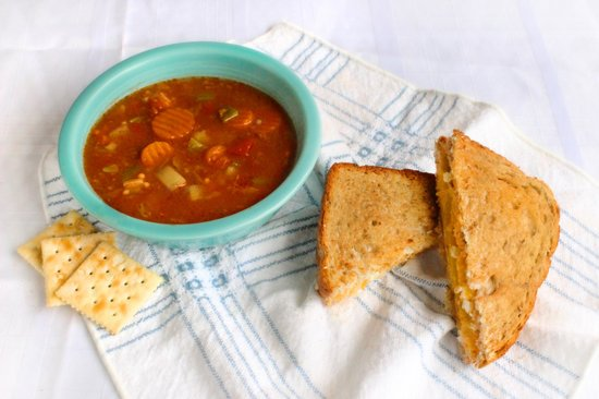 Truett's Pizza Cafe : Grilled Cheese Classic with three different cheeses and homemade vegetable beef soup!