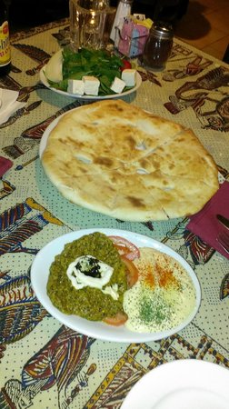 Cafe Caspian: Kashk –E Bademjan (eggplant) and Hummus with Bread