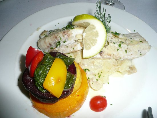 The Olive Tree: Fish and courgette stack - yum!