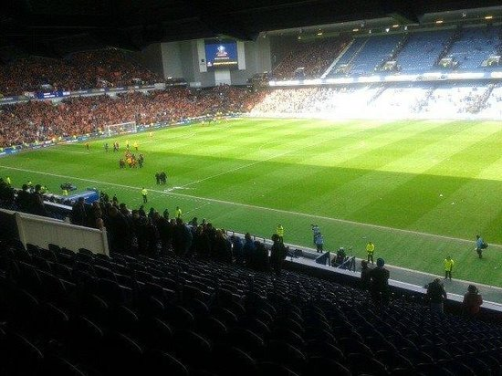 Ibrox Stadium : view of the pitch from the main stand post match