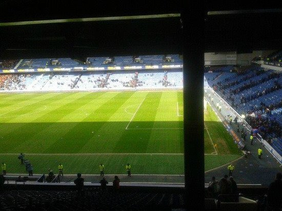 Ibrox Stadium: view of the pitch from the main stand post match