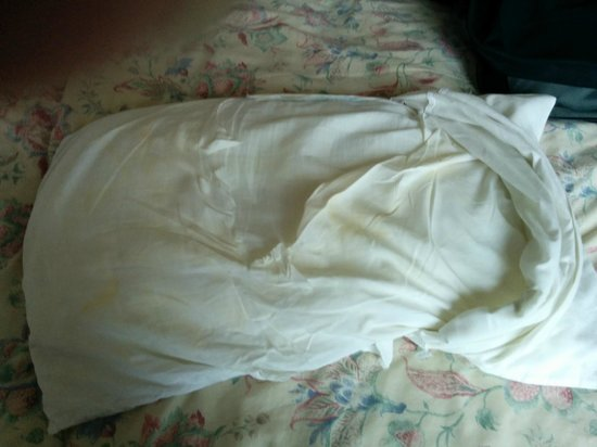 Ambassador Hotel: Torn & stained inner pillow case