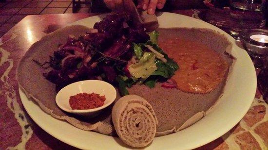 Sheba Ethiopian Restaurant: Delicious and plentiful food for sharing.